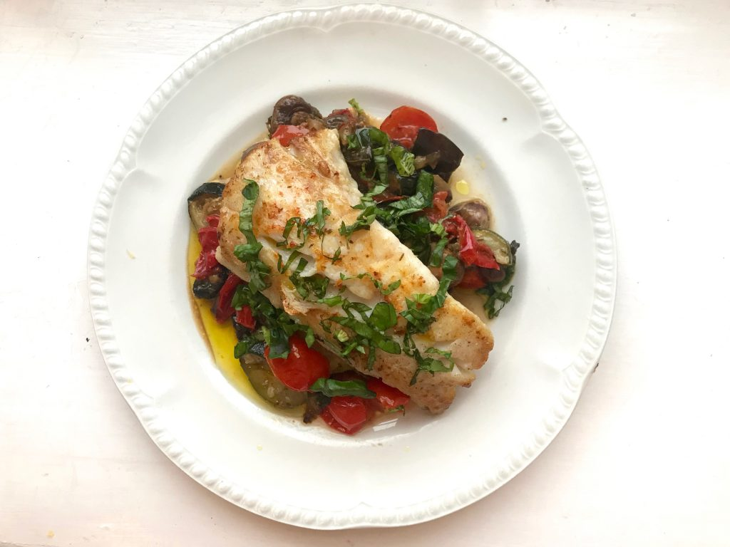 Hake with roasted vegetables