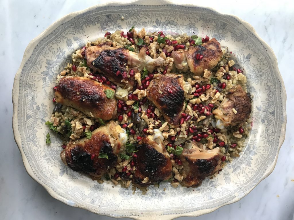 Anne Shooter's chicken with bulgur wheat, walnuts and pomegranate