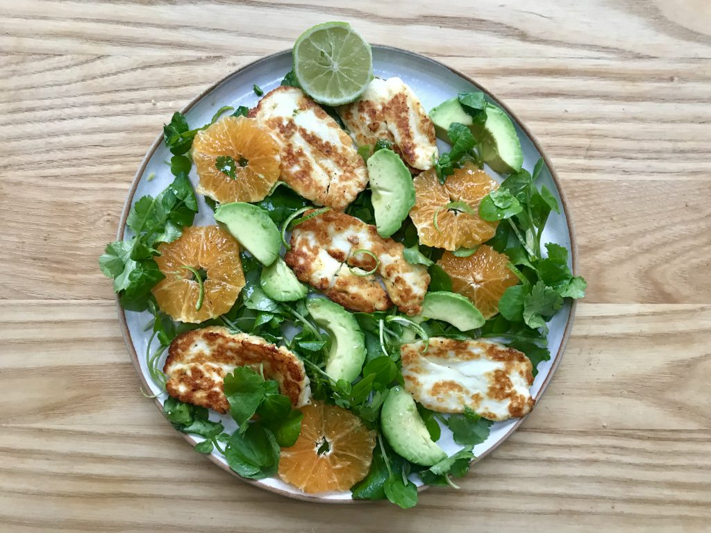 Avocado, orange and halloumi salad