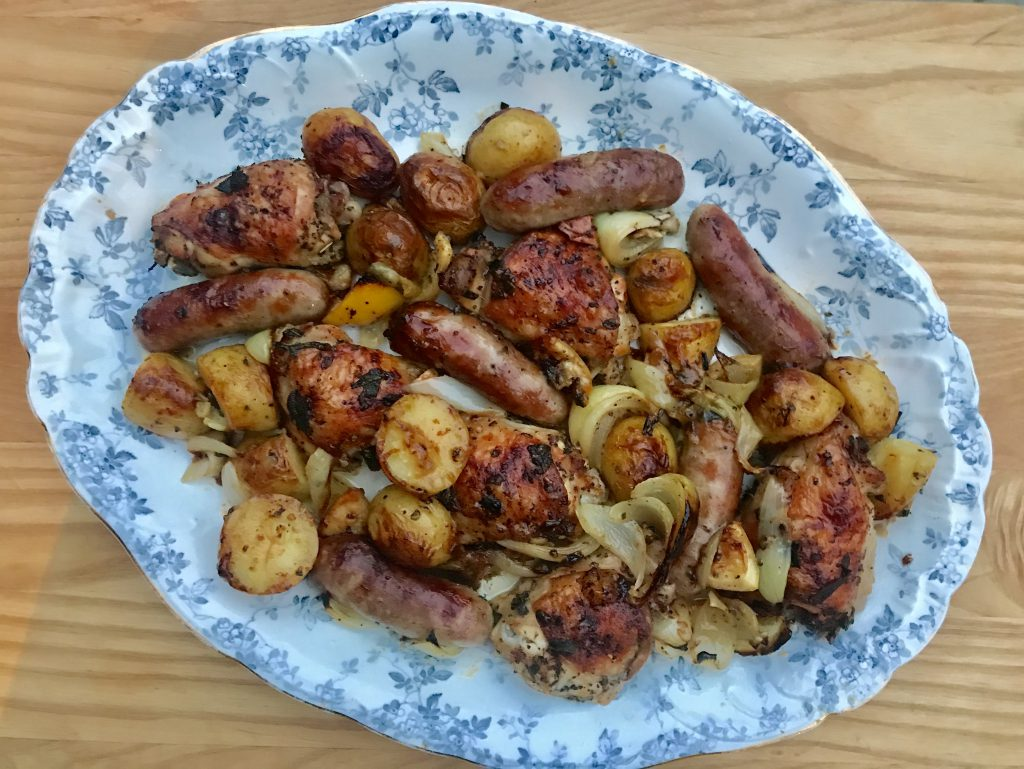 Chicken and sausages with sage and onion