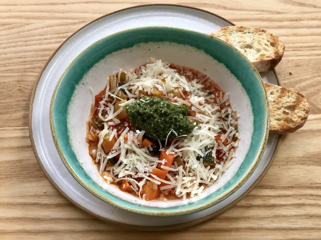 Mediterranean bean soup with pesto and Parmesan
