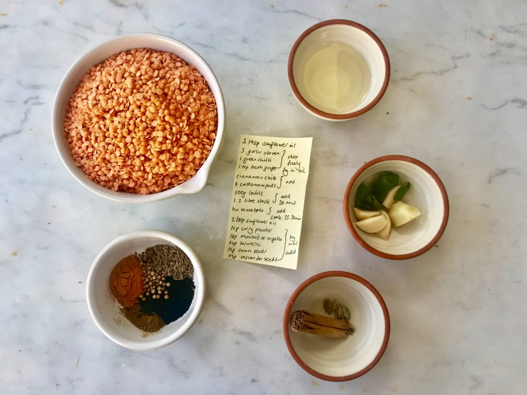 Ingredients for making dhal